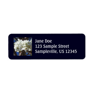 White Blossoms Return Address Label