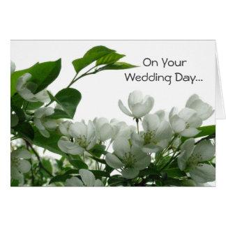 White Blossoms Wedding Card
