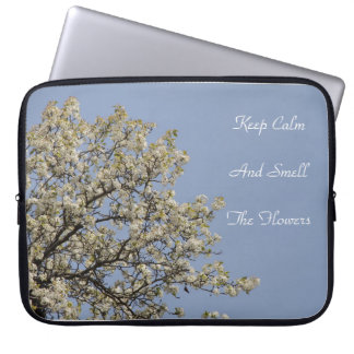 White Blossoms with blue sky Text can be changed. Laptop Computer Sleeves