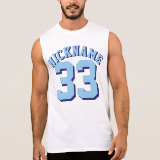 White & Blue Adults | Sports Jersey Design Sleeveless Shirt