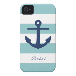 White Blue Anchors Aweigh iPhone 4 Case-Mate Cases