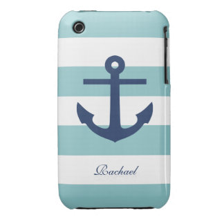 White & Blue Anchors Aweigh Case-Mate iPhone 3 Case