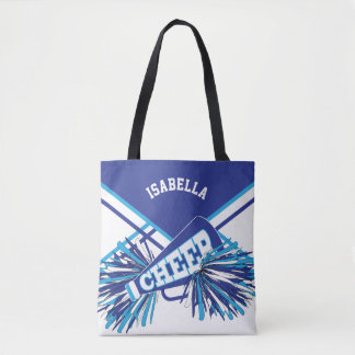 White, Blue and Baby Blue Cheerleader Design Tote Bag