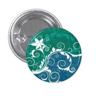 White Blue and Green Floral Grunge Pinback Button