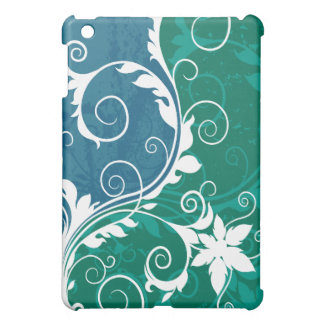 White Blue and Green Floral Grunge iPad Mini Covers