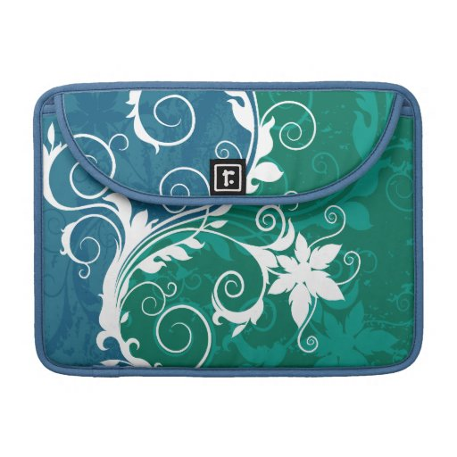 White Blue and Green Floral Grunge MacBook Pro Sleeve