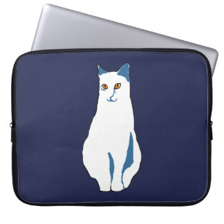 White-Blue Cat Computer Sleeve