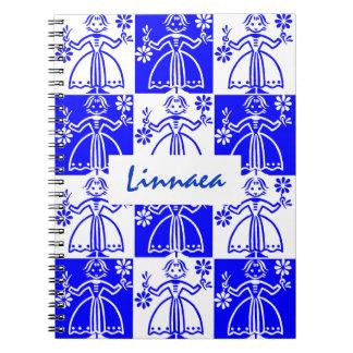White Blue Checkerboard Nordic Girl Custom Journal