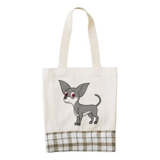 White & Blue Chihuahua with Short Hair Zazzle HEART Tote Bag