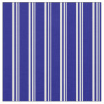 [ Thumbnail: White & Blue Colored Lined Pattern Fabric ]