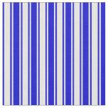 [ Thumbnail: White & Blue Colored Stripes Pattern Fabric ]