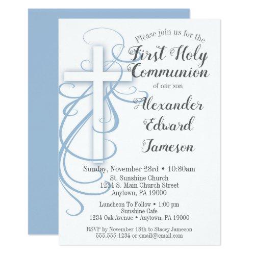 White Blue Cross First Holy Communion Invitation