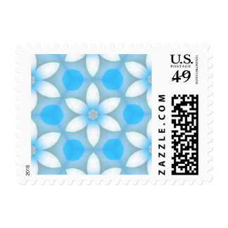 White Blue Daisies in Hexagons Stamps