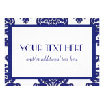 White & Blue Damask Announcements