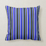 [ Thumbnail: White, Blue, Dark Sea Green, and Black Lines Throw Pillow ]