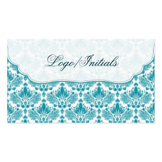 White & Blue Elegant Retro Floral Damask Business Card Templates