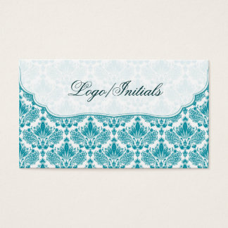 White & Blue Elegant Retro Floral Damask Business Card