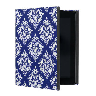 White & Blue Floral Damasks Geometric Pattern iPad Cover