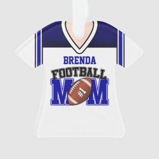 White/Blue Football Mom Jersey Ornament