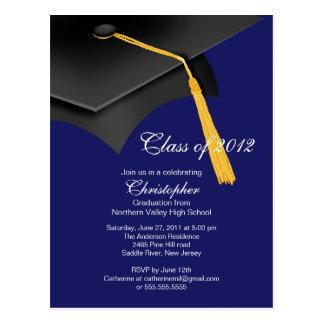 White Blue Grad Cap Graduation Party Invitation Postcard