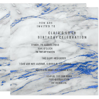White Blue Gray Marble Minimal Birthday Party Card