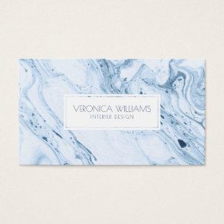 White & Blue-Gray Modern Marble Swirls Business Card