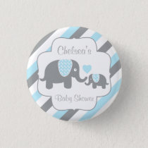 White, Blue & Gray Stripe Elephant Baby Boy Shower Button