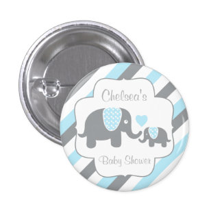 White, Blue & Gray Stripe Elephants Baby Shower 1 Inch Round Button