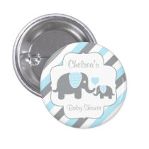 White, Blue & Gray Stripe Elephants Baby Shower Button