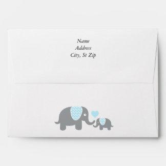 White, Blue & Gray Stripe Elephants Baby Shower Envelope