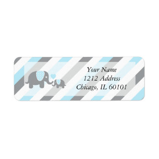 White, Blue & Gray Stripe Elephants Baby Shower Label
