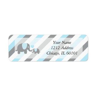 White, Blue & Gray Stripe Elephants Baby Shower Label