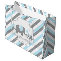 White, Blue & Gray Stripe Elephants Baby Shower Large Gift Bag