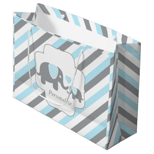 White, Blue & Gray Stripe Elephants Baby Shower Large Gift Bag