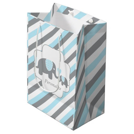 White, Blue & Gray Stripe Elephants Baby Shower Medium Gift Bag