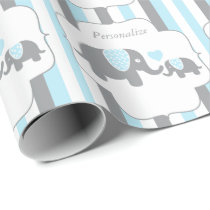 White, Blue & Gray Stripe Elephants Baby Shower Wrapping Paper