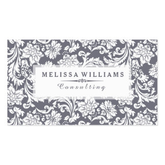 White & Blue-Gray Vintage Floral Damasks Business Card