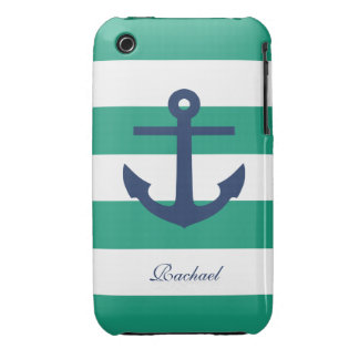 White Blue & Green Anchors Aweigh iPhone 3 Case