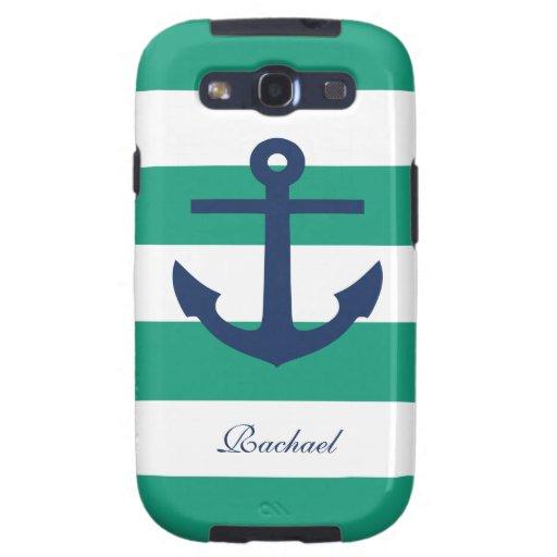 White Blue & Green Anchors Aweigh Samsung Galaxy S3 Case
