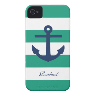 White Blue & Green Anchors Aweigh Case-Mate iPhone 4 Case