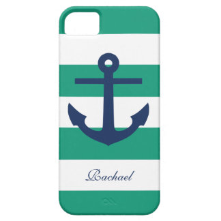White Blue & Green Anchors Aweigh iPhone SE/5/5s Case