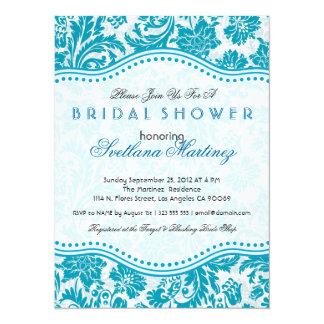 White & Blue-Green Floral Dam Bridal Shower Invite