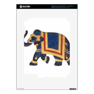 white blue grey gold red Elephant India Style iPad 3 Decal