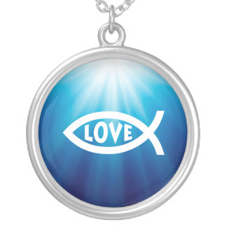 White Blue Ichthus Christian Symbol with Love Personalized Necklace