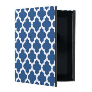 White & Blue Ikat Quatrefoil Geometric Patter iPad Folio Case