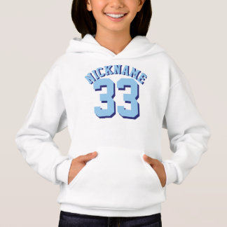 White & Blue Kids | Sports Jersey Design Hoodie
