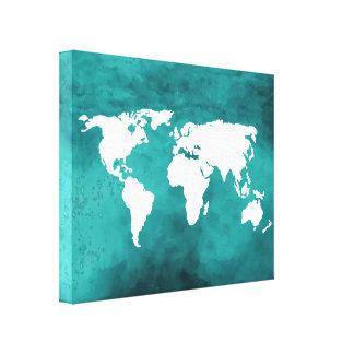 white/blue map canvas print