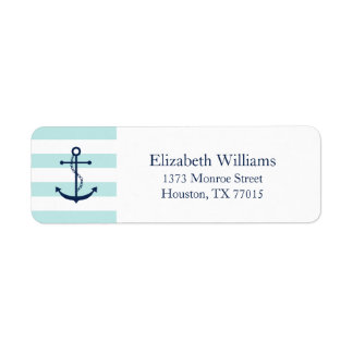 White Blue Mint Anchor and Stripes Label