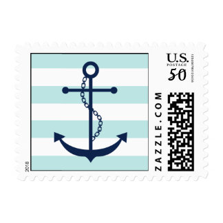 White Blue Mint Anchor and Stripes Postage