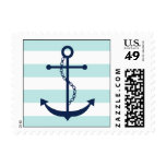 White Blue Mint Anchor and Stripes Postage Stamps